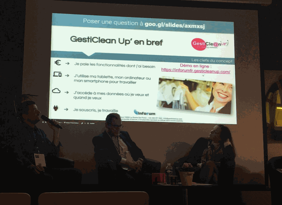Presentation GestiClean Up aux Rencontres de l'innovation JET Expo