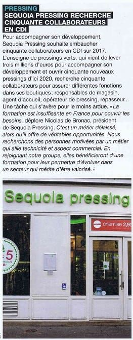 PRESSING : Sequoia Pressing recherche cinquante collaborateurs en CDI